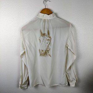 Vintage Van Laack Horse Silk Blouse Cream Size 4